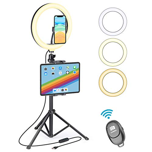 """MZH UFULA Ring Light with Stand for iPad iPhone, 10"""" LED RingLight Tripod with Tablet Phone Holder, Selfie Circle Lamp Video Recording for Live Makeup YouTube TikTok Zoom Meeting Online Teaching"""