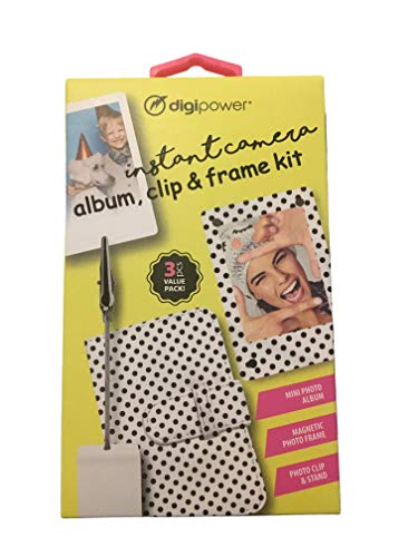 Digipower Instant Camera Album, Clip, and Frame Kit That Includes Mini Photo Album, Magnetic Photo Frame, and Photo Clip/Stand