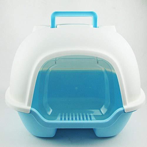 Axiba Huisdier toilet Volledige gesloten kat toilet na het heffen deksel kat zand wastafel ovaal Space Cabin draagbare plastic kat bedpan, D