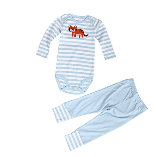kingko® 1Réglez Newborn Filles bébé garçon Vêtements Bodysuit Romper + Pantalons Longs Pantalons (S, Bleu)