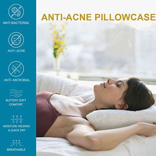 Acne Pillowcase, Acne Pillow Case with Silver Technology, Pillowcase Fighting Acne to Maintain Clean Skin while You Sleep, 1 Standard Pillowcase