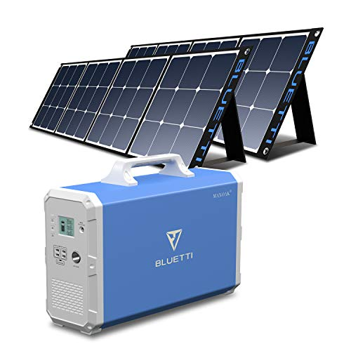 BLUETTI EB240 Portable Power Station 2400Wh with 2pcs SP200 Solar Panel 200W, Lithium Backup Battery Solar Generator for Home RV Emergency, 1000W AC Outlet , MPPT, Foldable Solar Panel Bundle, Indoor & Outdoor Power Alternative