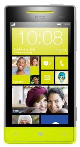 HTC Windows Phone 8S Smartphone (Qualcomm 1 GHz S4 Prozessor, 10,2 cm (4 Zoll) Touchscreen, 5 Megapixel Kamera, 512MB RAM) High-Rise grau/gelb