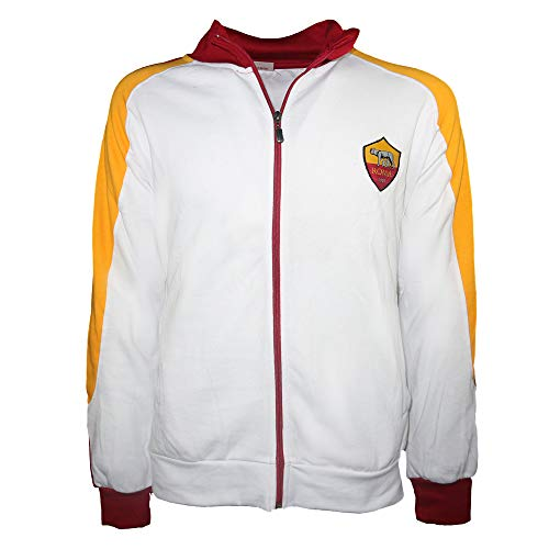 AS Roma Felpa Full Zip Bianca Uomo (XL, Bianco)