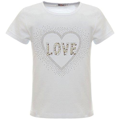 BEZLIT Mädchen Glitzer T-Shirt Herz Motiv Oberteil Kunst-Perlen 22538 Weiß 164