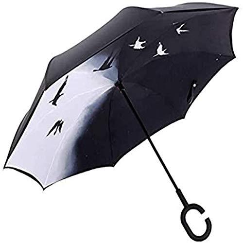 MGEE Paraguas invertido a prueba de viento invertido para adultos, hombres y mujeres, mango largo, protector solar al aire libre, paraguas de doble uso (tamaño: D)