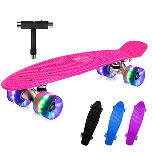 BELEEV Skateboard 22 inch Completo Mini Cruiser Retro Skateboard per Bambini, Giovani e Adulti, Ruote con all-in-One Skate T-Tool per Principiante (Rosa)