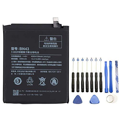 Upplus BN43 Batería de repuesto compatible con Xiaomi RedMi Note 4X con kit de herramientas 3,85 V 4000 mAh