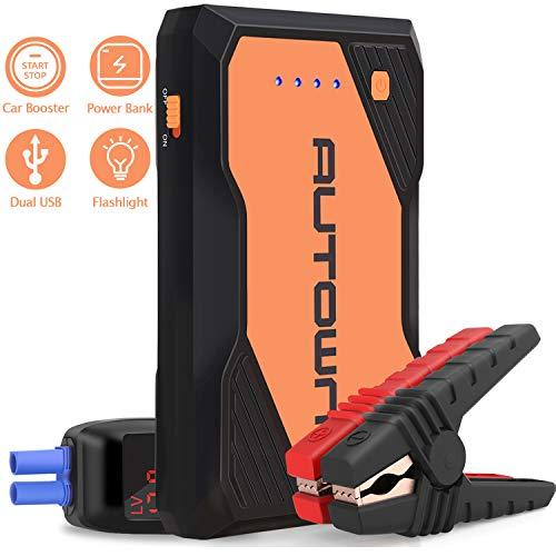 AUTOWN Starthilfe Powerbank, Auto Starthilfe 10000mAh 800A Spitzenstrom, Auto Powerbank Starthilfe Diesel mit LED und Dual USB Ausgänge (orange)