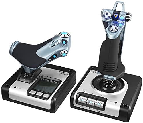 Logitech G Saitek X52 Controller di Simulazione con Acceleratore, Joystick X52 HOTAS, Display LCD, Pulsanti Illuminati, Acceleratore Progressivo, Centraggio Molla, 2USB, PC - Nero/Argento