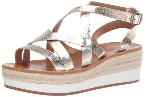 Lucky Brand Women's JENEPPER Espadrille Wedge Sandal, Platinum, 6