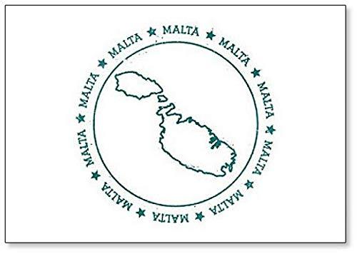 Malta Kaart. Reisstempel Illustratie met tekst omwikkeld rond een ronde koelkastmagneet