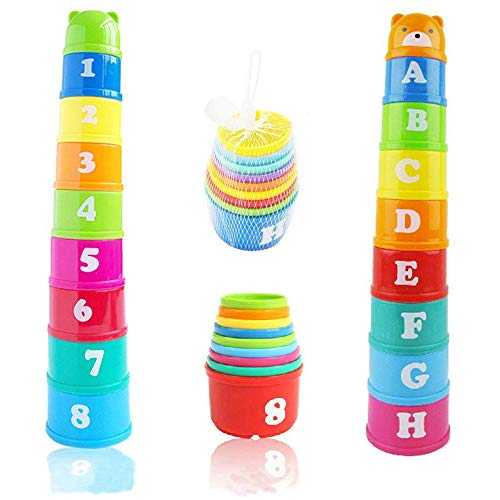 Ogquaton Vasos de apilamiento Taza Plegable Juguete Bebé Juguetes educativos tempranos para...