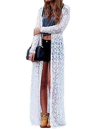 Ajorhkdls Cardigan Kimono da Donna in Pizzo Floreale Sexy Aperto Aperto Allentato Elegante con Cardigan da Spiaggia