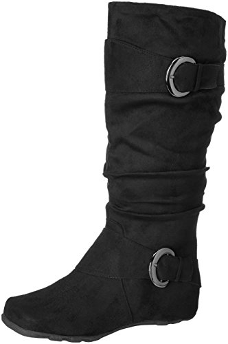 Brinley Co Women's Slouch Boot, Black Wide Calf, 8 M US