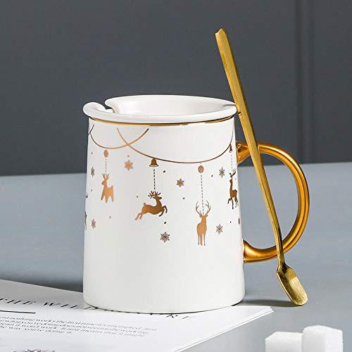 Tazza di ceramica vetro Nordic New Bone China Coppia creativa Coppia Office Milk Coffee Tazza in ceramica con cucchiaio-regalo di cervo bianco di Natale Tazza-Confezione regalo