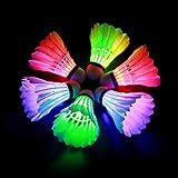 HOOMAGIC 6 Pièces LED Volant de Badminton Balle de Badminton Nuit Eclairage pour Les Activités Sportives Intérieur et Extérieur