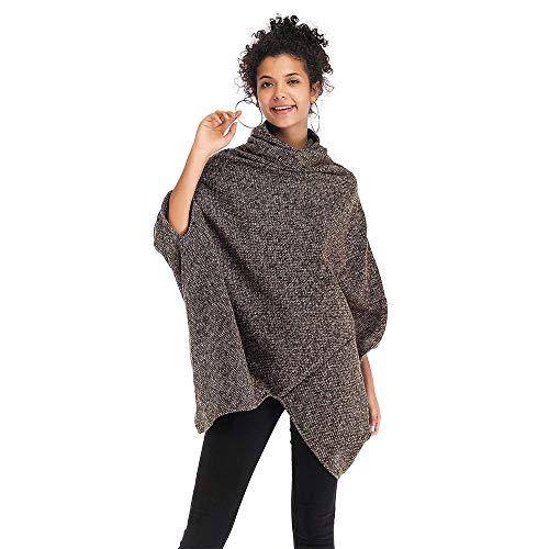 Anxiang Damen Winter Böhmen Quaste Capes Strickpullover Strickjacke Poncho Pullover Sweater (Brown,one Size)