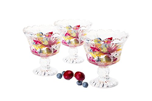 Dessert Ice cream cups Mini trifle bowls,salad fruit dish 6 OZ set of 6 clear