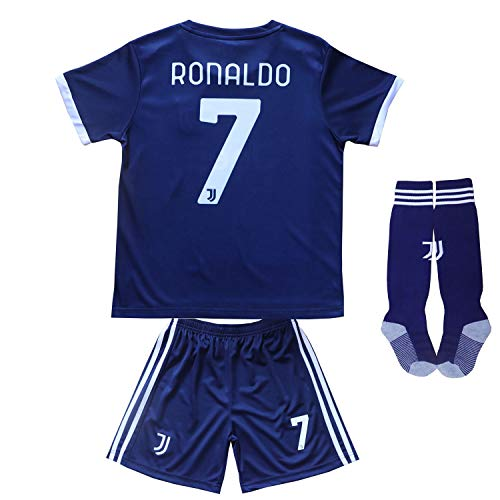 FCM 2020/2021 CR7 New #7 Cristiano Ronaldo Kids Soccer Jersey & Shorts Youth Sizes (Away Black, 10-11 Years)