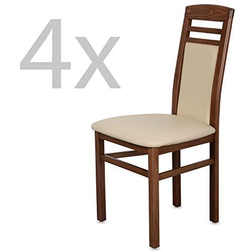 Staboos 4er Set Esszimmerstühle Leder CH44 - Stuhlset bestehend aus 4 Stühlen - Polsterstuhl bis 150 kg - Holzstuhl gepolstert (Nussbaum - Beige)