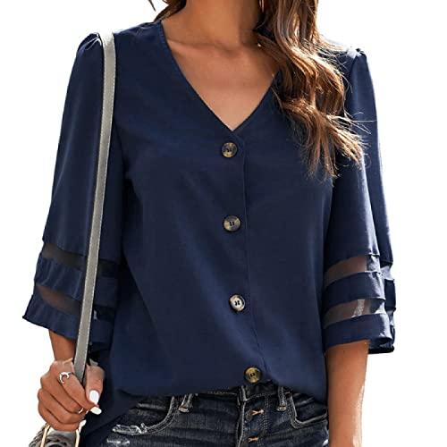 Camisa con Cuello en V para Mujer Moda Color sólido Clásico de un Solo Pecho Cómodo Todo-fósforo Camisa de Manga Acampanada de Siete Puntos S