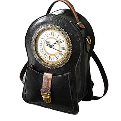 Timagebreze Damen Pers?Nlichkeit Alarm Wecker Tasche Basteln Tasche Stra?En Mode Diagonale Ein-Schulter Handtasche Schwarz
