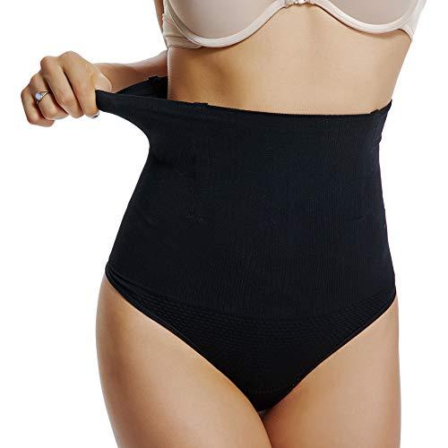 Joyshaper Damen Miederslip Figurenformend Shapewear Weiche Nahtlose Unterwäsche Hohe Taille Thong String Tanga mit Bauch-Weg-Effekt (Schwarz, M)