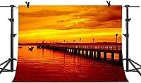 HiYash 9x6ft 黄金の夕暮れの背景ロマンチックな海岸ロングブリッジ誕生日パーティー赤ちゃんの誕生日の装飾バナー美しい記憶記録ビニール材料スタジオ小道具と家の装飾
