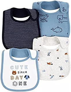 Carter's Baby Boys' 4-Pack Teething Bibs, Animals, One Size