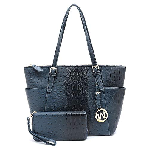 Vegan Faux Leather 2 PC Set Ostrich Croco Embossed Tote Shoulder Bag shopper with Matching Wallet (Blue)