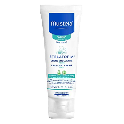 Mustela Stelatopia - Emollient Baby Face Cream - For Eczema-Prone Skin - with Natural Avocado & Ceramides - Fragrance Free - 1.35 fl. oz.