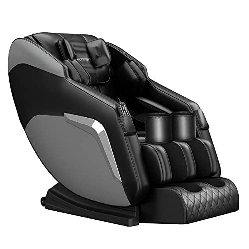 HOMASA Black Full body Massage Chair Zero Gravity Recliner,22 Nodes Deep Kneading Massage, 38 Airbags Full Body Scan