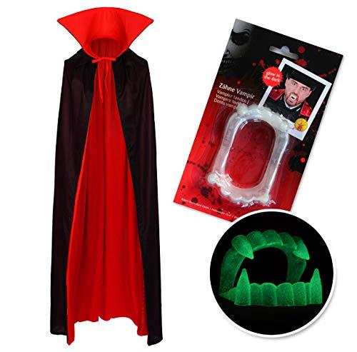 Vampiro Cuello Alto Capa Manto Disfraz Negro Rojo y Dientes (130cm Capa + Noche Mordedura Luminosa de Vampiro)