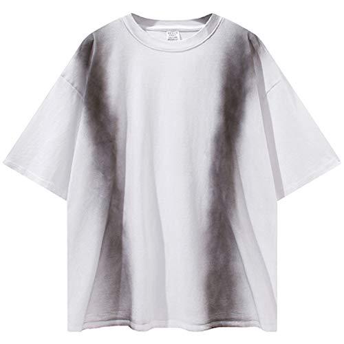 AXDNH Krawatte Farbstofffarbe T-Shirt Männer 100% Baumwolle Beiläufige Streetwear Sommer Top Tees Große Größe Kurzarm,Weiß,M