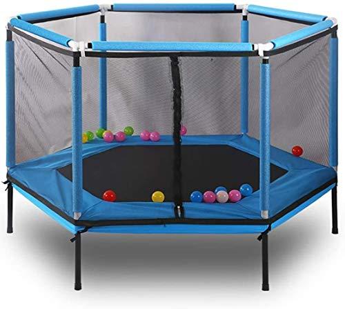 Pulley -O Cama elástica para niños Mesa de salto interior para adultos fitness con red de seguridad Diseño poligonal sólido acero al carbono de alta densidad 1,5 metros rojo O (color: azul)