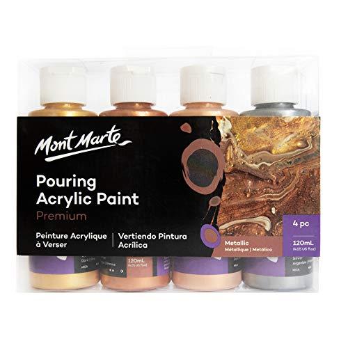 Mont Marte Colori Acrilici Pouring Set Metallizzati – 4 pezzi x 120ml – Pitture Acriliche premiscelate con Medium per Acrilico – Oro, Argento, Bronzo, Oro Rosa