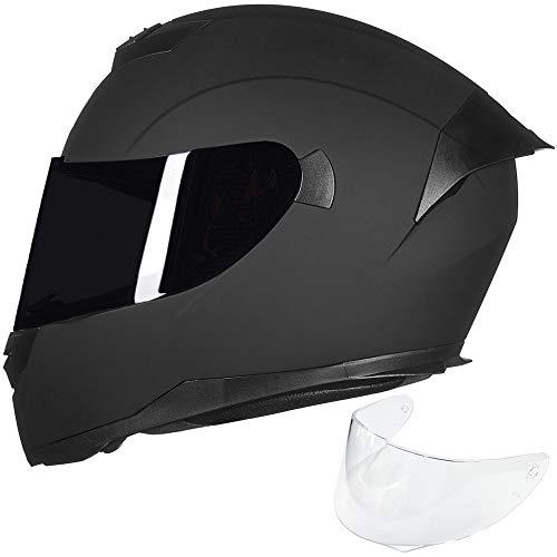 ILM Full Face Motorcycle Helmet for Motocross Street Bike DOT Certified (Matte Black, S)
