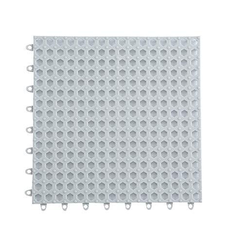 Creativee 4 tappetini da doccia modulari ad incastro 30 x 30 cm, antiscivolo per piastrelle, tappetino impermeabile, scarico piscina, doccia, bagno, cucina, casa, interno ed esterno (grigio)