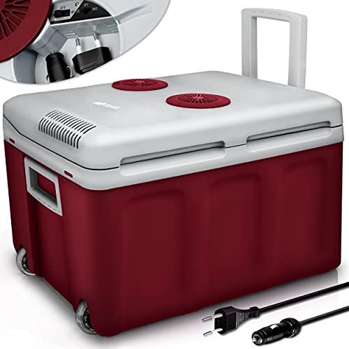tillvex Kühlbox elektrisch 40L mit Rollen   Mini-Kühlschrank 230 V und 12 V für KFZ Auto Camping   kühlt & wärmt   ECO-Modus (Rot)