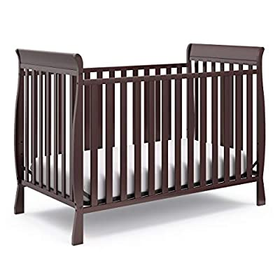 Storkcraft Maxwell 3-in-1 Convertible Crib (Espresso) - Sleigh Style Baby Crib, Converts into Daybed and Toddler Bed, JPMA Certified, Fits Standard Size Baby Crib Mattress by Storkcraft