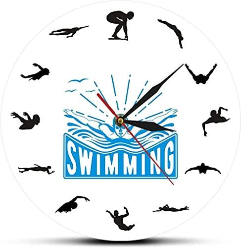 Orologio da Parete Orologio da Parete Modern Swimming Sport Art Design Orologio da Parete Vofloating Underwater Diving Swim Coach Home Decor Orologio da Parete Nuotatore Adatto per So