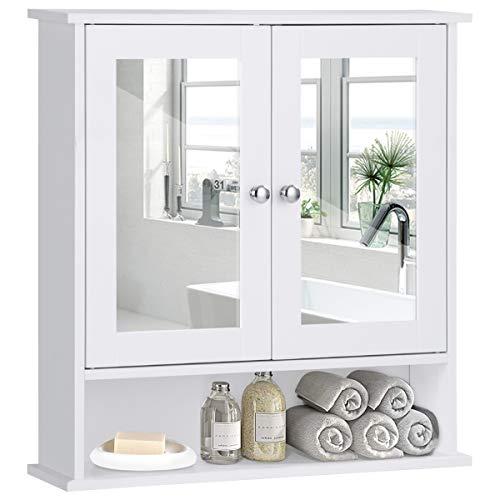 COSTWAY Armadietto a Specchio Mobile da Parete per Bagno, Pensile a Muro, Bianco, 58 x 56 x 13 cm (Bianco)