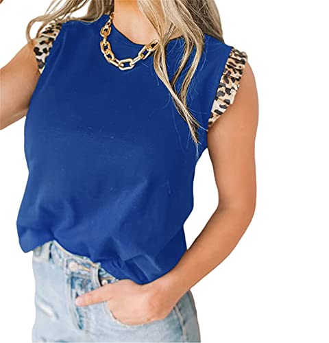 Camisola Mujer Tops Moda Sexy Verano Cuello Redondo Mujer Blusa Personalidad Leopardo Impression Sin Mangas Diseño Diario Casual Ligero Cómodo All-Match Mujer T-Shirt E-Blue XXL