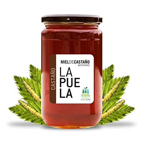LAPUELA Miel de Castaño. Miel de origen natural desde Asturias - Aroma floral, con un claro y marcado componente amaderado, a madera seca (750 gr)