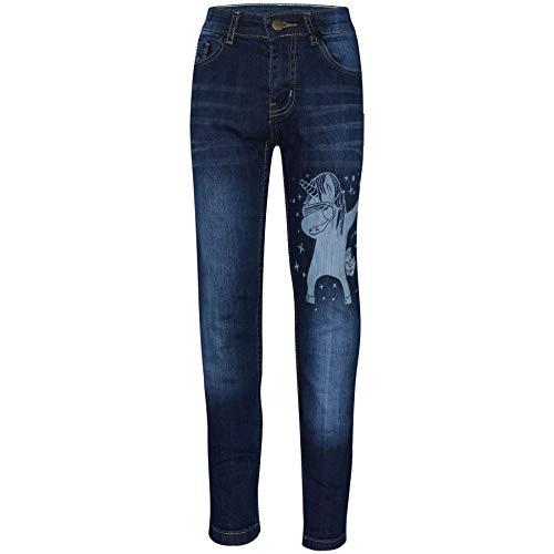 A2Z 4 Kids Enfants Filles Jeans Designer Licorne Dab Denim - Jeans JN29 Dark Blue 11-12