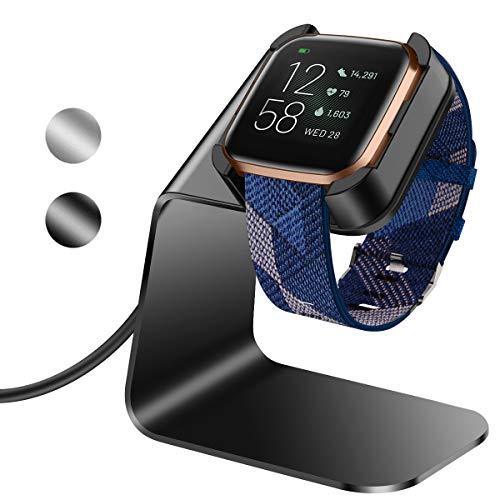 KIMILAR compatibel met Fitbit Versa 2 Oplader, Exclusieve Aluminium Oplaadkabel Oplader Dock voor Fitbit Versa 2 Smartwatch, Zwart