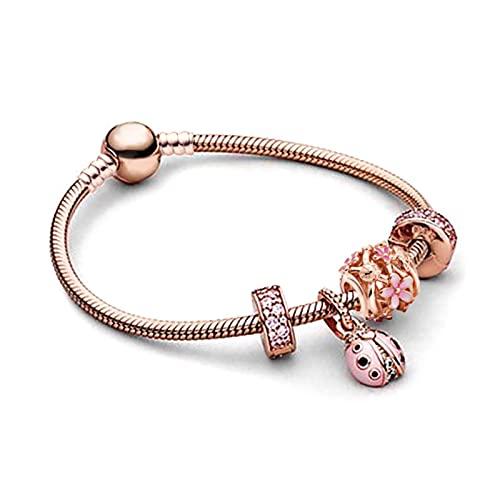 TTGE Silver Plated Heart Key Pendant Charm Bracelets For Women Original Girls Princess Crown Beaded Bracelet Wife Jewelry