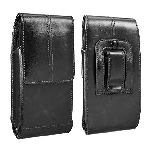 iPhone XS Max 11 Pro Max Belt Case , Vertical Premium Leather Belt Pouch Holster Case Carrying Sleeve for iPhone 7 Plus 8 Plus 6S Plus Black