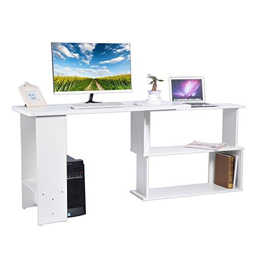 Zerone Mesa Escritorio Extensible, L Escritorio de la Esquina Plegable de la Computadora Mesa de PC Portátil para Hogar o Oficina 124 x 48 x 74cm (Blanco)